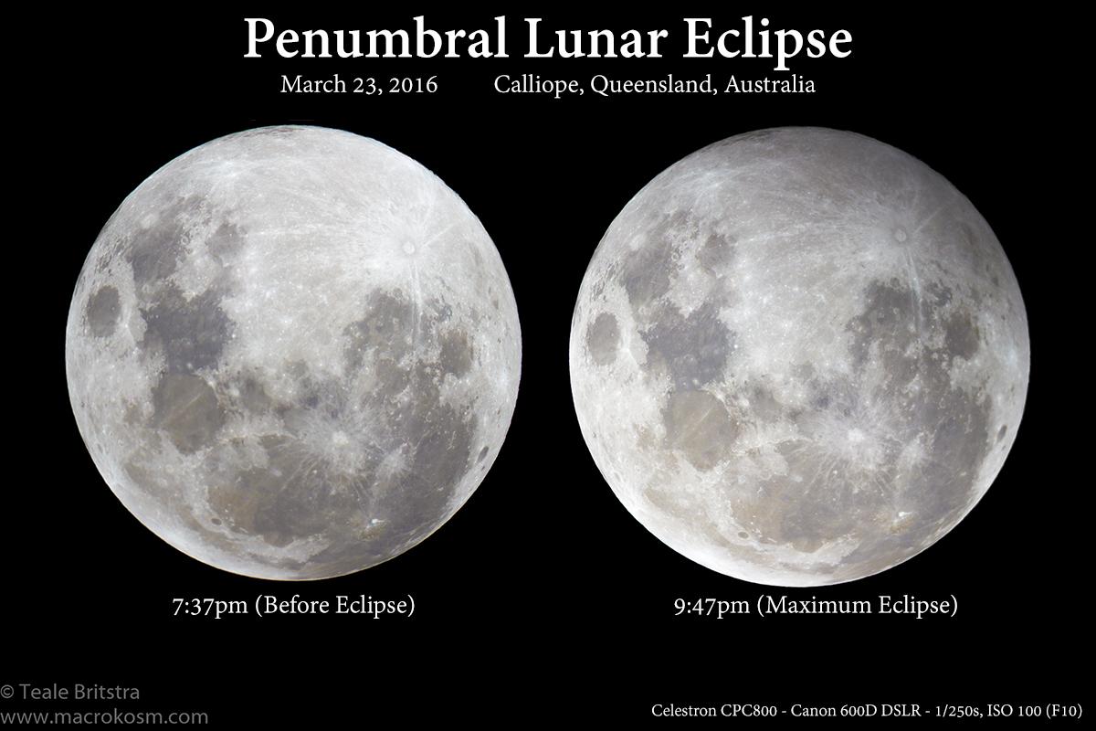 Gerhana Bulan Penumbra 23 Maret 2016 yang lalu dipotret dari Queensland Australia. Kredit : Teale Bristra