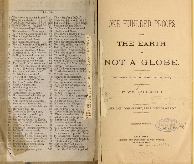 "Gambar 2: Buku ""A Hundred Proofs the Earth is Not A Globe"" karya William Carpenter"